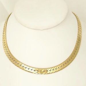 14K YELLOW GOLD SOLID HERRINGBONE COLLAR NECKLACE